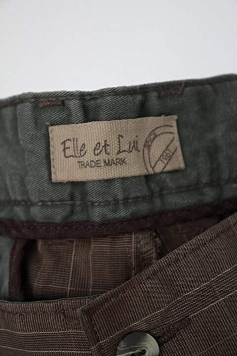 Calça de sarja ellu et lui masculina marrom estampada_foto de detalhe