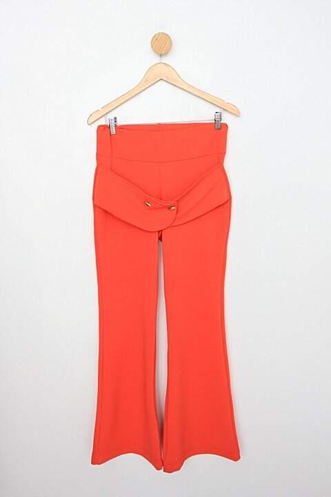 Calça de tecido feminina laranja flare com aplique_foto principal