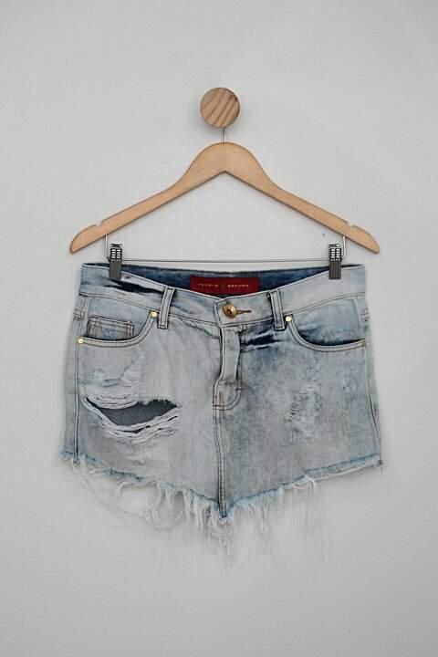 Saia jeans roberio sampaio feminina azul destroyed_foto principal