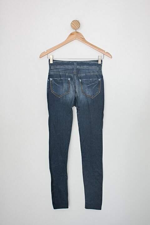 Calça legging flanelada lejeans feminina azul com estampa jeans_foto de costas