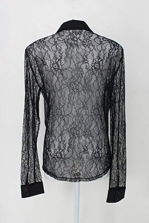 Camisa amaro feminina preta com Renda e Transparência_foto de detalhe