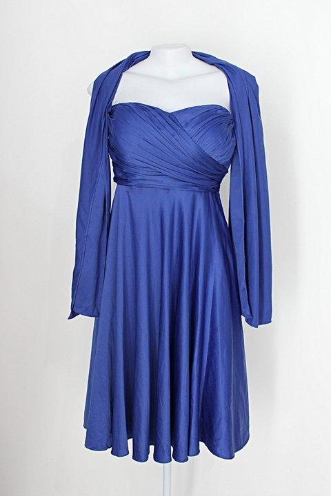 Vestido de Festa feminino azul acetinado com Plissado_foto principal