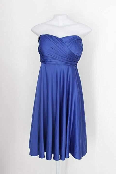 Vestido de Festa feminino azul acetinado com Plissado_foto de costas