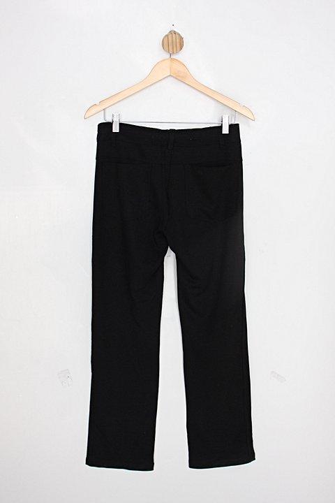 Calça de tecido fit feminina preta reta_foto de costas