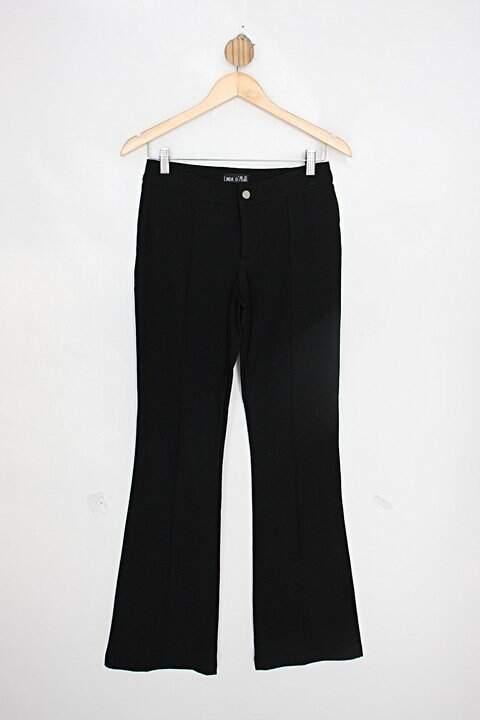 Calça de tecido linda d'mais feminina preta flare_foto principal