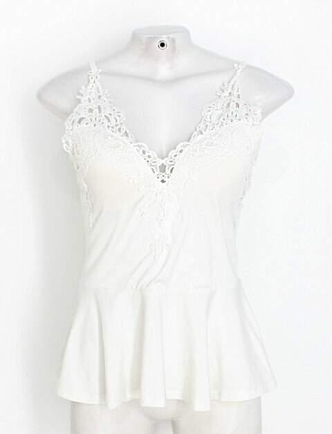 Regata ruby fashion feminina off-white com Renda e Bojo_foto principal