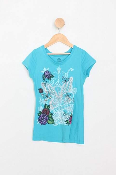 Camiseta Infantil azul com estampas_foto principal
