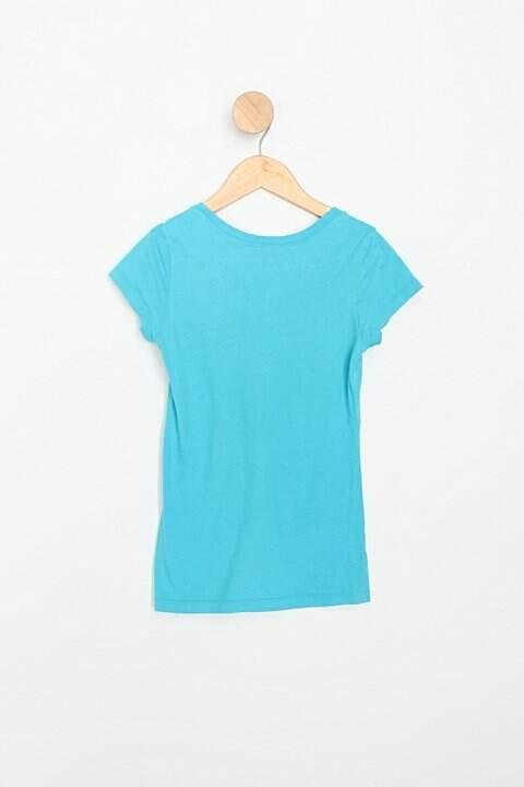 Camiseta Infantil azul com estampas_foto de costas