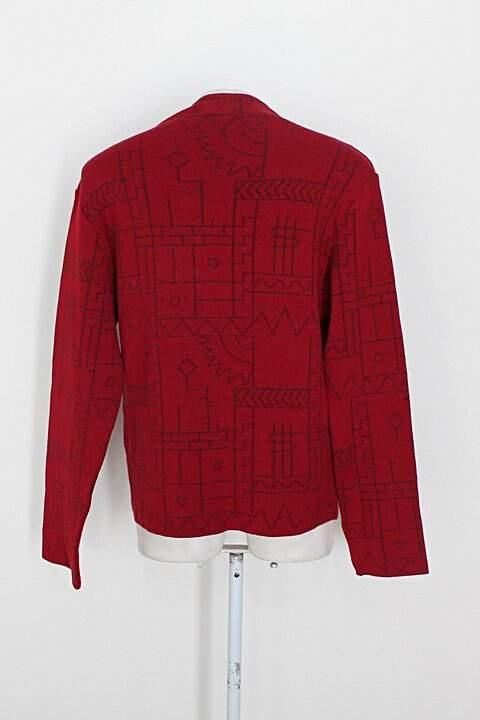 Casaco de malha jacard coven feminina vermelho escuro _foto de costas