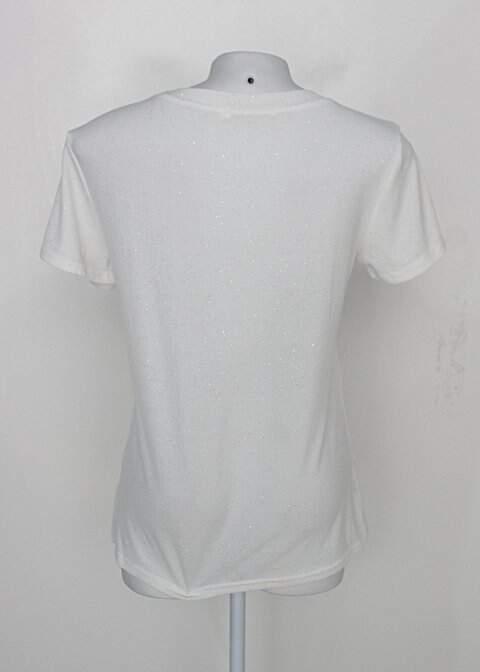 Camiseta com glitter queen taste feminina off-white com Bordado de abacaxi_foto de costas