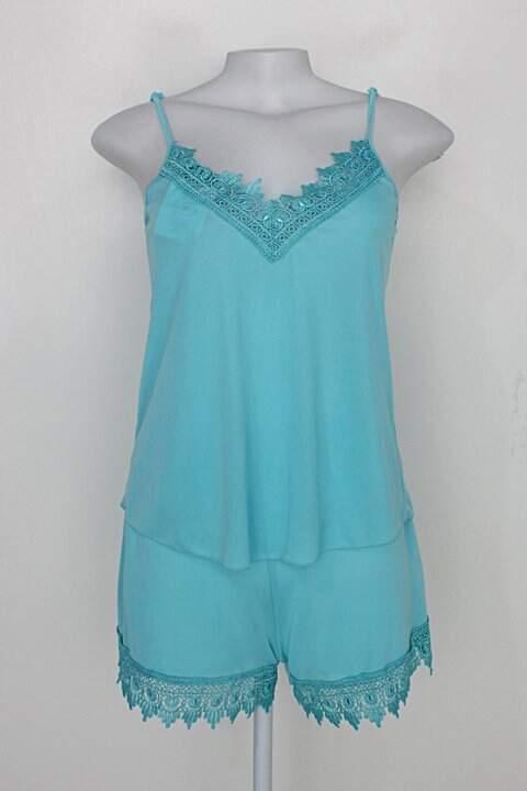Conjunto de pijama rose rosa feminino azul claro com Renda_foto principal