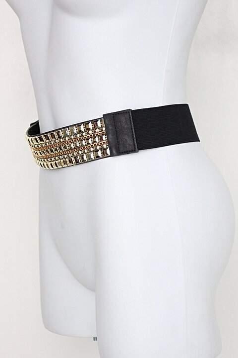 Cinto feminino dourado com ajuste por elástico _foto de costas