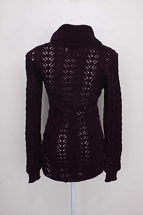 Blusa Tricot Gola Alta feminina roxo tricotex_foto de costas