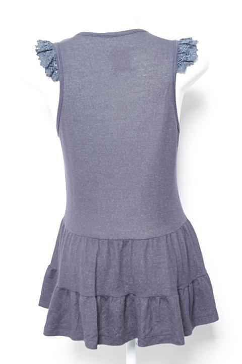 Blusa Azul Luminê com Babado_foto de frente