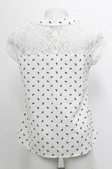 Blusa Estampada e Renda Arte Miss_foto de frente