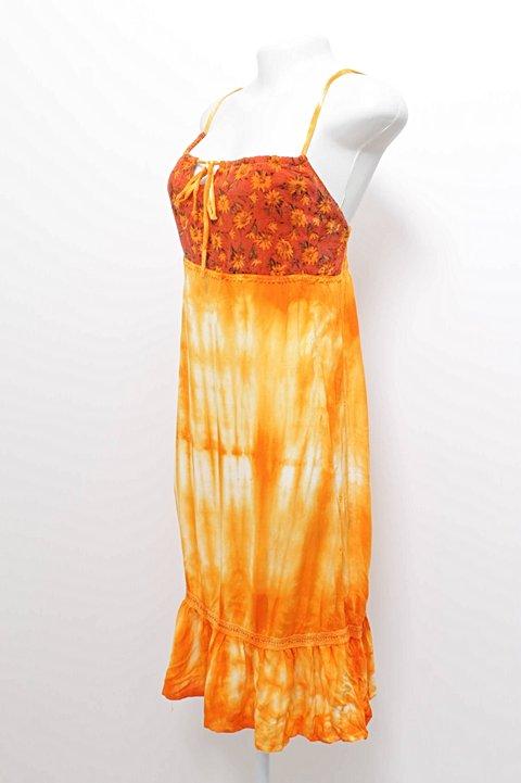 Vestido Florido e Dye Laranja_foto de costas