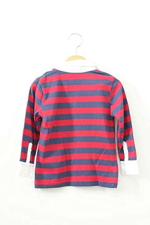 Camiseta Polo Listras Vermelhas e Azuis_foto de frente