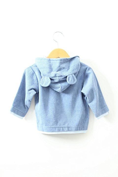 Blusa Azul Veludo Ursinho_foto de frente