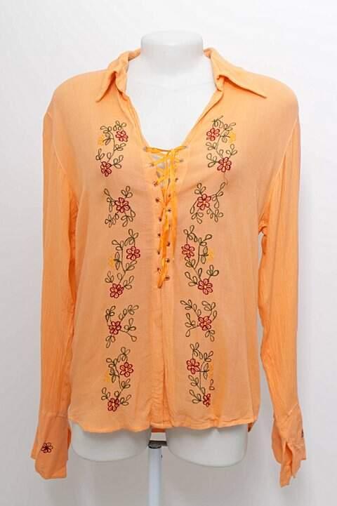 Camisa Laranja Bordados Share Darshan_foto principal