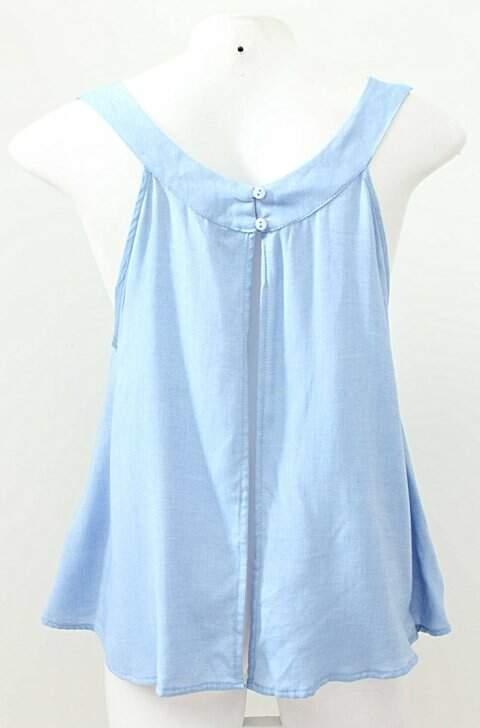 Blusinha Azul De Alças Renner_foto de frente