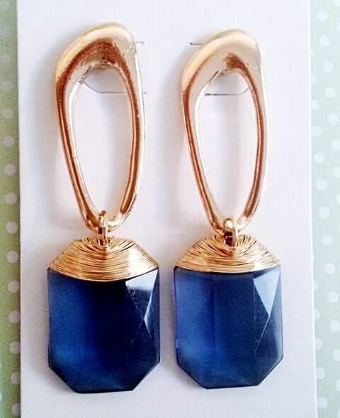 Brinco Banhado A Ouro Com Cristal Azul_