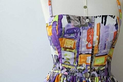 Vestido Evasê Filhas de Gaia Lilás_foto de detalhe